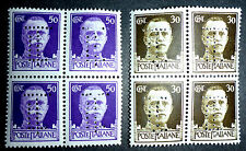ITALY 1940'S PERFINS 2 VERY FINE MINT NH BLOCKS OF 4