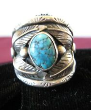 VINTAGE NAVAJO LARGE MENS TURQUOISE RING SIGNED