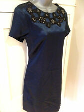 Blue Sateen Knee Length Tunic Dress with Sequin & Bead Neckline - UK Size 12