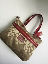 AUTHENTIC COACH POPPY GLAM KHAKI  SIG RED CHERRY TRIM PATENT LEATHER TOTE DBAG