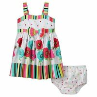 NEW NWT Bonnie Jean Baby Toddler Girl Flower Striped Poplin Dress 12 18 24 mo