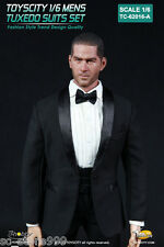 "Toys City 1/6th 62016-A Black Color Male Fashion Formal Tuxedo Suits F 12"" Toys"