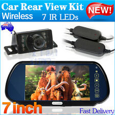 "Wireless Car Rear View Kit 7"" LCD Mirror Monitor + 7 LED IR Reversing Camera AUS"