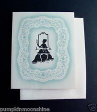 Vintage Unused Greeting Petite Note Card Victorian Lady Looking in Mirror
