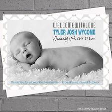 Frontera de Foto Bebé anuncio de nacimiento tarjetas de agradecimiento Chicos Chicas x12 H0324