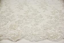 Elegant Charming Hand Made Heavy Beaded Embroidery Lace Fabric, Bridal Design