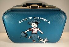 """VINTAGE BOYS """"GOING TO GRANDMA'S"""" CHILDS 13"""" BLUE OVERNITE SUITCASE PUPPY DOG"""