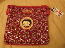 Brand New Betty Boop Classy Chic Heart Cut-Out Purse Red & Gold Shoulder Bag