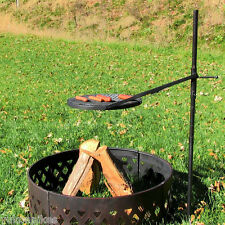 Height-Adjustable Rotating Outdoor Campfire Fire Pit Cooking Grill Grate