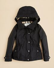 NEW $295 Burberry Girls Black Marylesdale Hooded Rain Jacket Parka Size 10Y