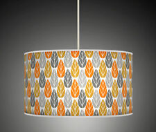 60 cm Leaf Leaves Coral Mustard Grey Handmade fabric lampshade pendant light 626