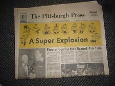 SUPER BOWL XIV PITTSBURGH STEELERS PITTSBURGH PRESS NEWSPAPER NOLL ROONEY NICE
