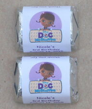 30 DOC MCSTUFFINS BIRTHDAY PARTY PERSONALIZED NUGGET CANDY WRAPPER LABELS FAVORS