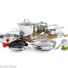 New Wolfgang Puck 18 Piece Cookware Set Stainless Steel Pots & Pans Glass Lids