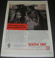 Print Ad 1943 Scotch TAPE WWll ART They Make Killer out of crippled tank Soldier