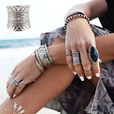 Retro Punk Midi Ring Boho Gypsy Carved Antique Silver Plated Rings for Women