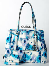 """GUESS """"DELANEY"""" COBALT/MULTI FLORAL HANDBAG WITH MATCHING  SMALL WALLET"""