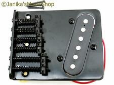 Black 6 saddle tele bridge and fitted pickup telecaster style new from Janika