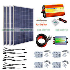 400W Solar Kit:4*100W Solar Panel w/ 1KW Pure Sine Wave Inverter Off Grid System