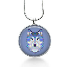 Watercolor Wolf Necklace - Animal Jewelry - Handmade - Art Pendant