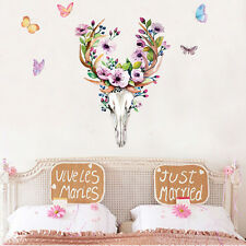 Sika Deer Head Creative Wall Decal Home Decor Living Room Butterfly DIY Sticker