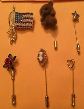 VINTAGE JEWELRY FROM ESTATE SALE 6 PINS/BROOCHES ROSE BEAR FLAG HEART STAR #J27