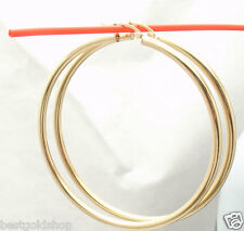 "3mm X 65mm 2 1/2"" Large Plain Shiny Hoop Earrings REAL 14K Yellow Gold"