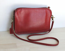 Vintage COACH Purse Shoulder Bag Red Leather Made in New York City NY USA #3606
