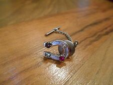 Old Vintage Tie Tack Chain Pin Lapel Color Rhinestones Horseshoe MNT STE Jewelry