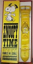 Vintage Peanuts Snoopy Yellow Swiss Watch Determined 1968 In Original Box Rare