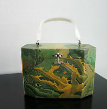 Vintage bolso _ decoupage box Bag & Lucite _ Annie Laurie _ Palm Beach _ coralreef