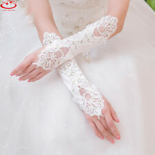 Fingerless Pearl Lace Gloves Bridal Glove Wedding Prom Party Costume Long Gloves
