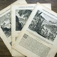 LOT 3 GRAVURES 18e s Gédéon SACRIFICE Miracle de la rosée BIBLE Sacy MERIAN 1770