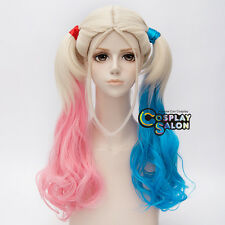 Anime Cosplay Blonde Mixed  Pink Blue Women Wig For Harleen Quinzel Hot Movies
