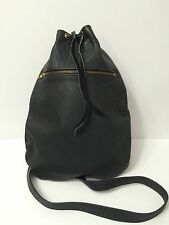 """Leather Sling Bag Purse with Drawstring Black Hipster Campus 15"""" USA Kellys"""