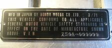 1971 HONDA Z50 Z50A Mini trail DAX Monky frame ID TAG Data Plate WITH EMBOSSING?