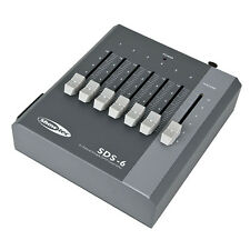 SHOWTEC SDS-6 DMX CONTROLLER Fader SCRIVANIA 6 CHANNEL 6ch BATTERIA & PSU Powered.