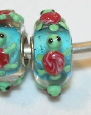 1x RED GREEN TURTLE BLUE SINGLE CORE SILVR MURANO GLASS BEAD LOT C57 FITS CHARM