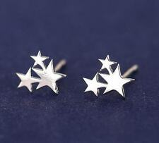 Korean Fashion 3-Stars Big & Small 925 Silver Plated Mini Women Club Earrings