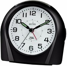 Acctim Europa Analogue Alarm Clock Non Ticking Silent Sweeper Black 14113 Sweep