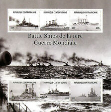 Central African Republic 2015 MNH WWI WW1 Battleships 6v M/S Battle Ships Stamps