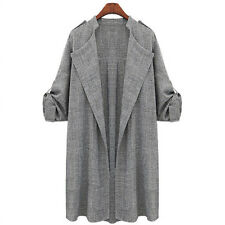 Womens Plus Size Loose Long Coat Tops Trench Duster Jacket Open Front Overcoat