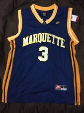 New Dwayne Wade Marquette College Sewn Rare Jersey Mens Large L Navy Heat Bulls