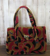 Garay Vintage CHENILLE Carpet Satchel Black Burgundy Bronze Multi Tote Purse Bag