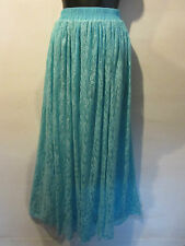 Skirt Fits XL 1X 2X Plus Maxi Length Full Lace Lined Stretch Turquoise Blue 6003
