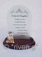 Arched Glass Plaque~A SPECIAL DAUGHTER Verse~Wood Base~Love YOU~Unique Gift Set