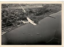 1938 Professional Aerial  Photo  Milwaukee's Lake Front with Ford Tri-motor