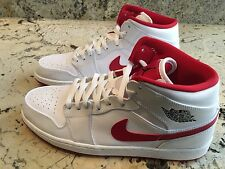 MICHAEL AIR JORDAN 1 MID WHITE/BLACK GYM RED SHOES NIKE 13