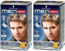 2 x Schwarzkopf Men Perfect - For Men - Gentle Hair Color Gel - Dark Blond 40