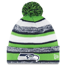 BRAND NEW Seattle Seahawks Knit Beanie with Pom Pom - NFL - UNISEX - Striped